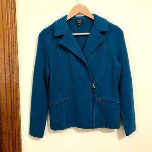 Talbots 100% Merino Wool Moto Zip Knit Jacket